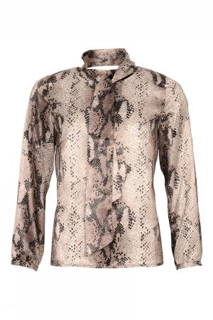 """Micha """"snake"""" bluse med aftagelig tørklæde."""